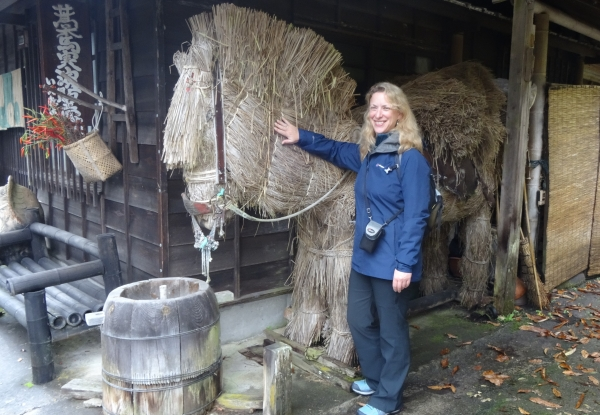 This horse was created by a villager from rice straw. Impressive!